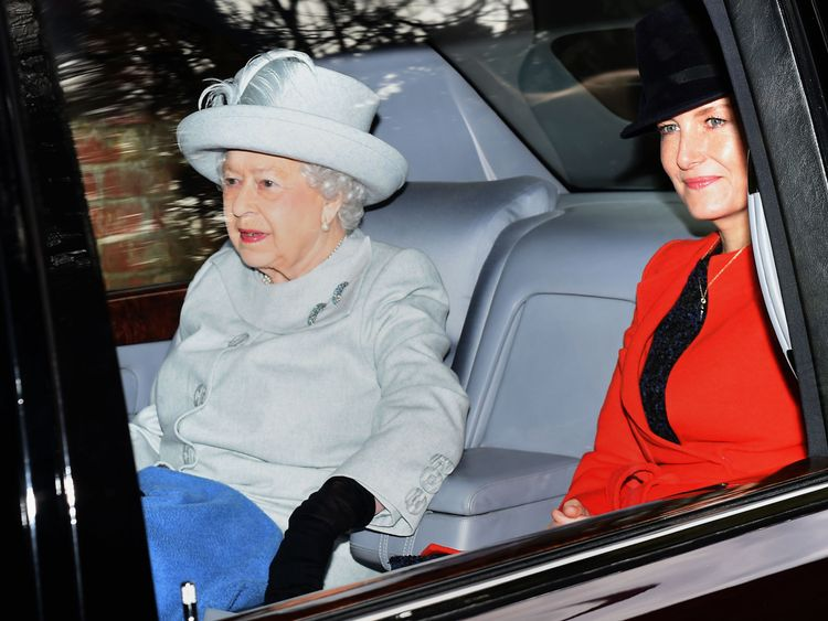 Queen Elizabeth leaves after attending the morning church service at St Mary Magdalene Church in Sandringham, Norfolk