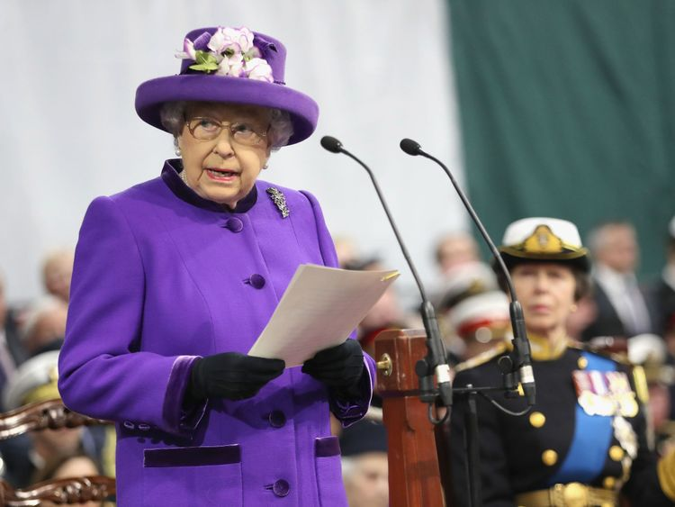 The Queen at the ceremony for HMS Queen Elizabeth