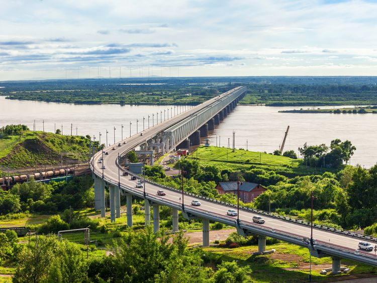 The Khabarovsk Bridge, crossing the Amur River in eastern Russia