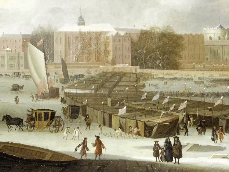 An illustration of the River Thames freezing over. Pic: Museum of London