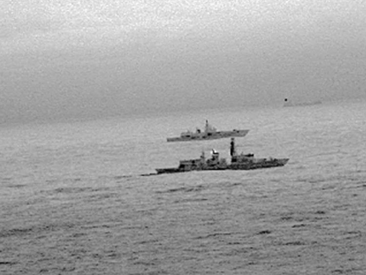 Royal Navy frigate HMS St Albans escorted a Russian warship through the North Sea and areas of UK interest on Christmas Day. Pic: Ministry of Defence