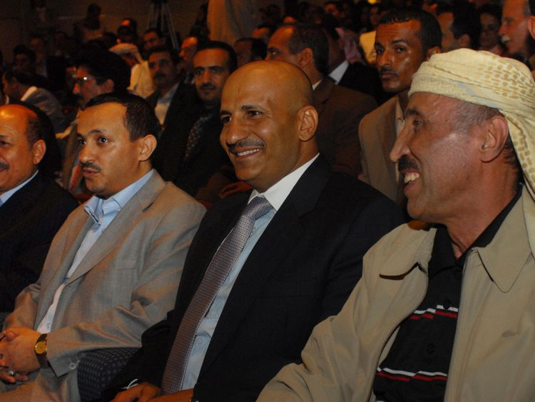Tareq Mohammed Abdullah Saleh (2nd from left) was killed in the attack on his uncle, former Yemen president Ali Abdullah Saleh's armoured vehicle