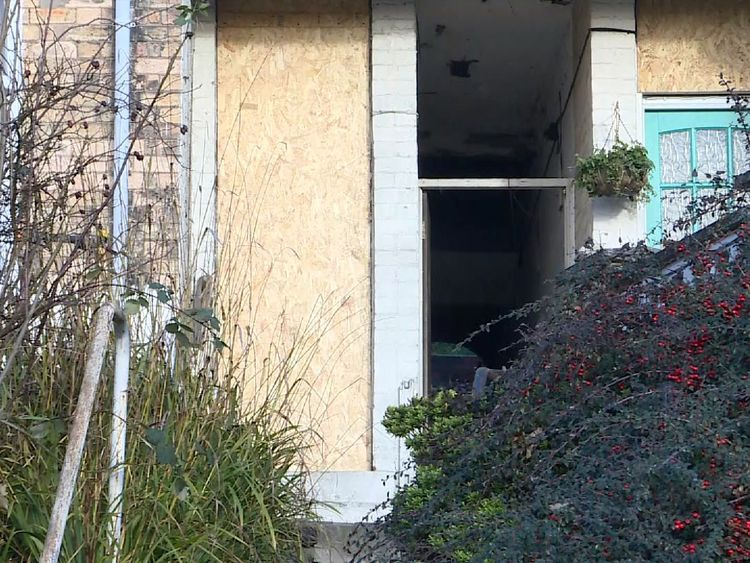 A property raided in Chesterfield had its front door removed