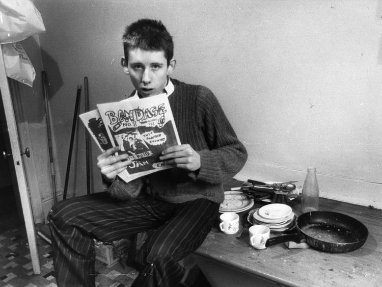 19-year-old Shane MacGowan, editor of punk rock magazine 'Bondage' in his office at St Andrews Chambers, Wells Street, London. He went on to front The Pogues. Original Publication: People Disc - HJ0379 (Photo by Sydney O'Meara/Getty Images)