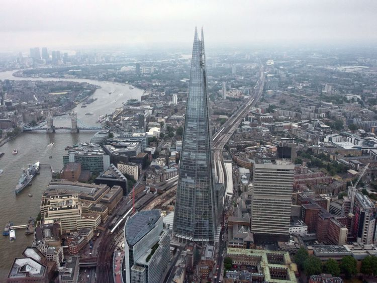 The Shard is pictured from a helicopter on June 13, 2015 in London, England