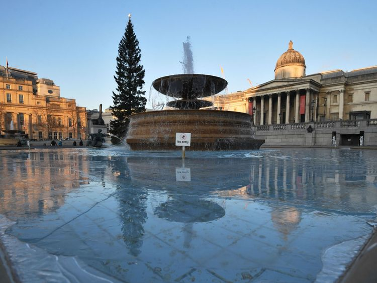 Ice forming in the fountains in Trafalgar Square, London, as Britain had its coldest night of the year