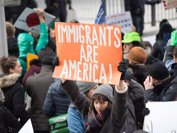 The President's initial ban prompted protests across the US