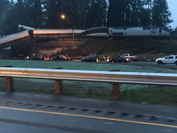 'Injuries and casualties' as Amtrak train derails onto highway near Seattle