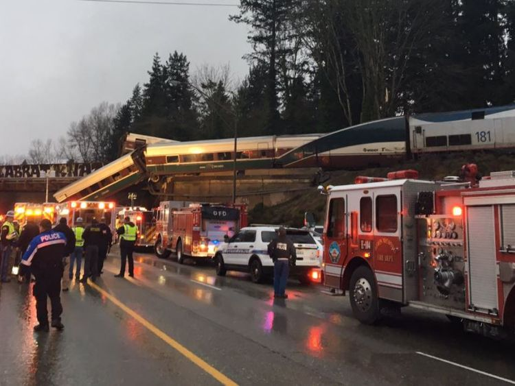 Amtrak train derails off bridge, falls onto highway outside Seattle