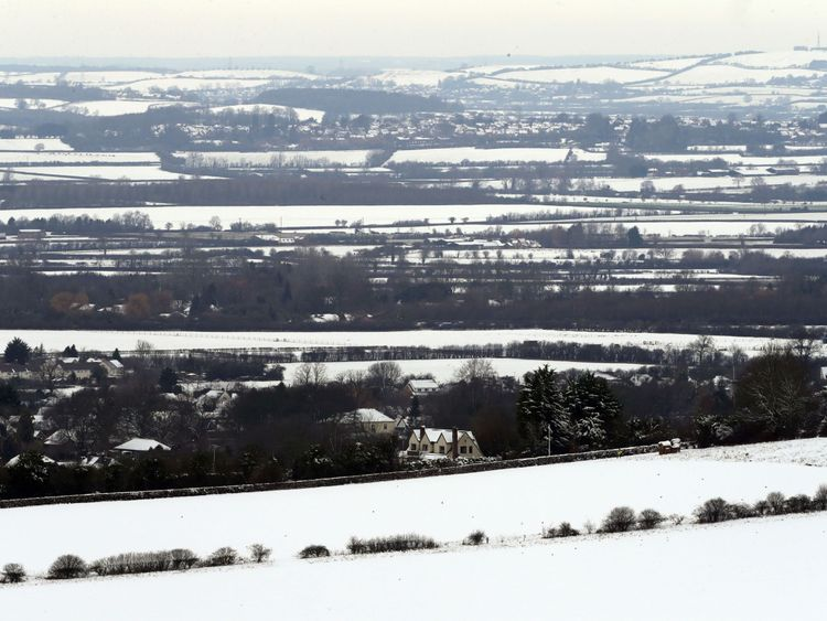 Snow covered fields near Parslows Hillcock, Buckinghamshire