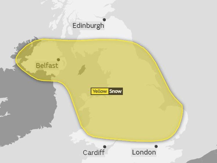 Sunday's Met Office weather warning