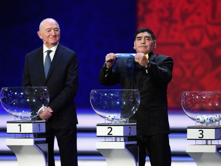 Diego Maradona picks out England during the World Cup draw in Moscow