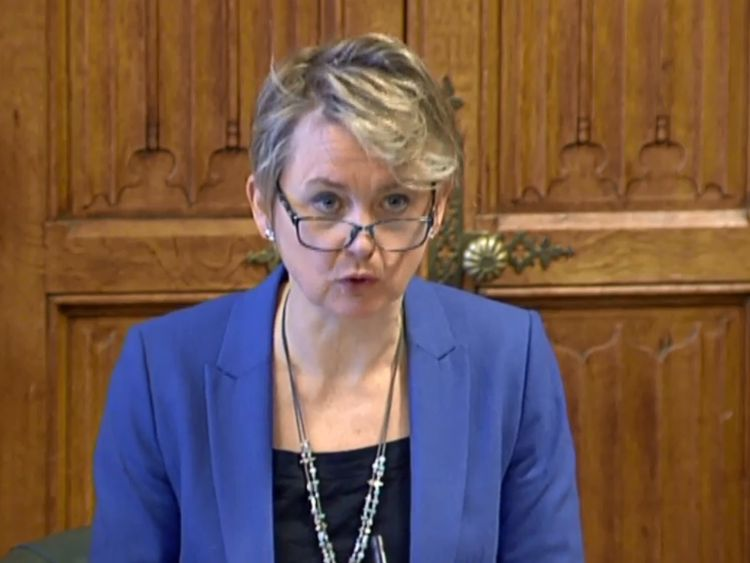 Yvette Cooper, Chair of the Home Affairs Select Committee. Pic: Parliament TV