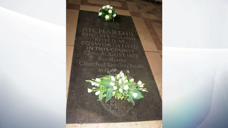 Richard III memorial stone on glass