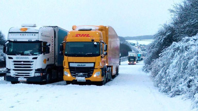 uk snow winter weather lorry stuck 2