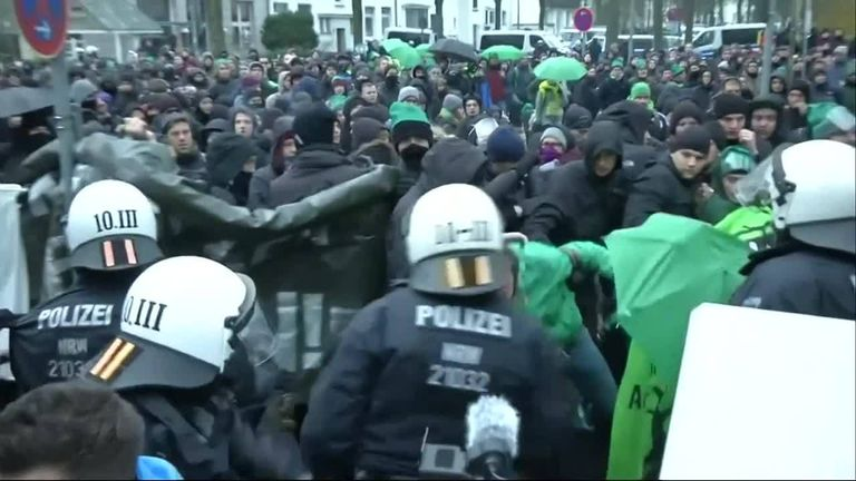 Protesters disrupt the opening of an Alternative for Germany convention in Hannover