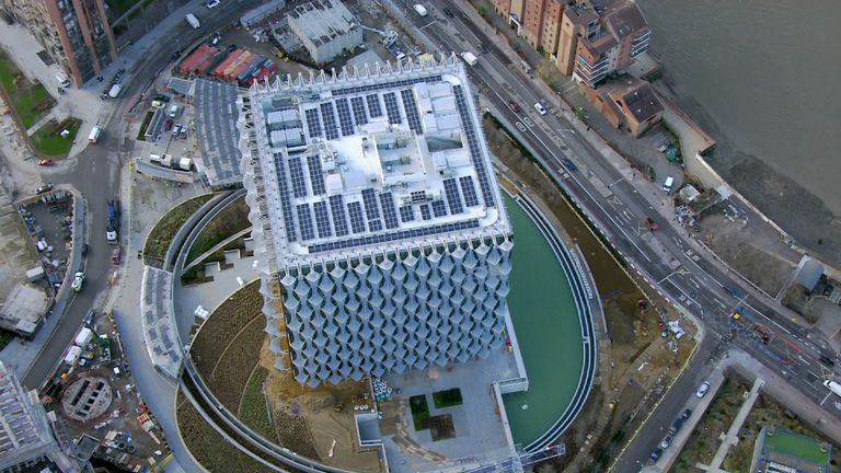 The roof of the new embassy, with solar panels for generating electricity