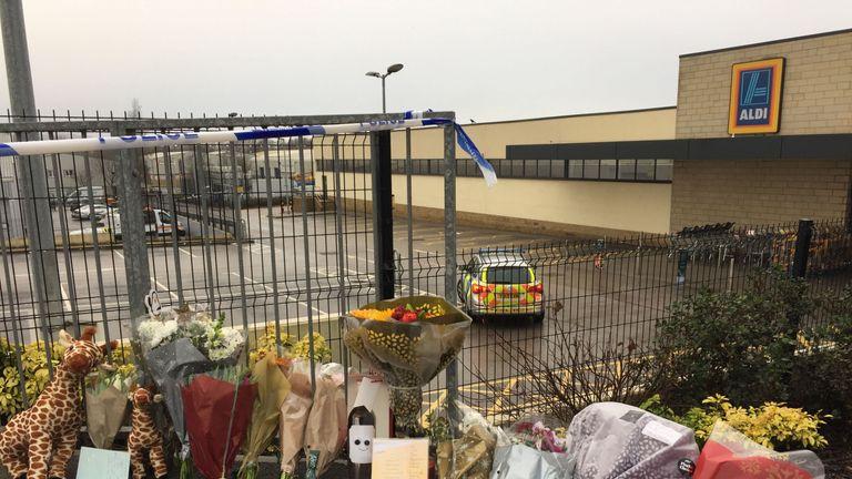 Floral tributes at Aldi in Skipton