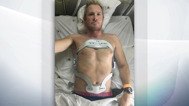 Andrew Cotton after breaking his back