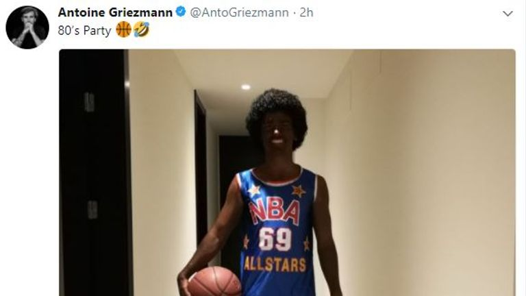 Griezmann's Twitter post of a 1980s party he attended dressed as an NBA player