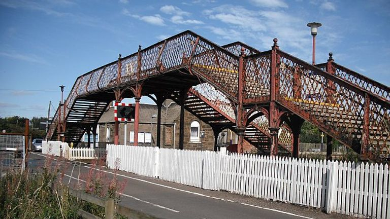 The hardly used footbridge at Barry Links station