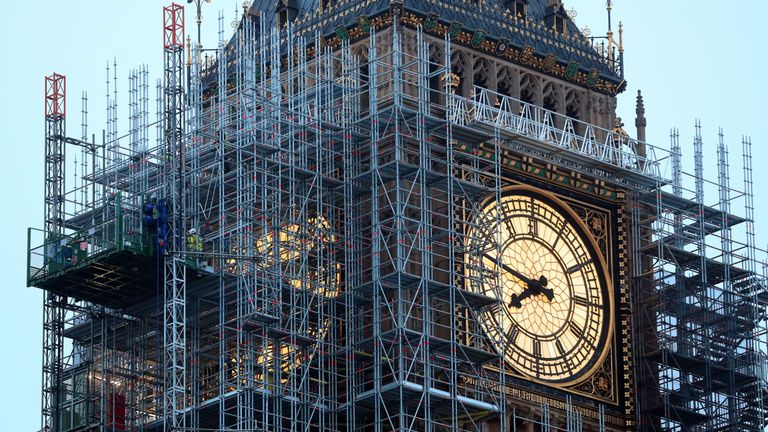 Scaffolding erected around the Elizabeth Tower, which houses Big Ben