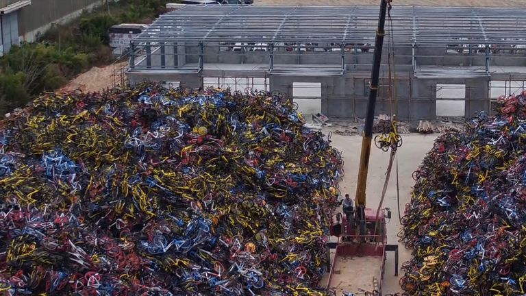 Thousands of bikes lie piled on top of each other