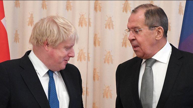 Boris Johnson meets his Russian counterpart Sergei Lavrov