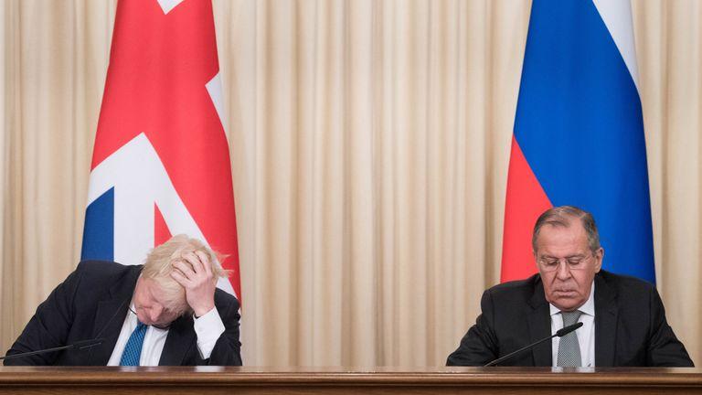 Foreign Secretary Boris Johnson and his Russian counterpart Sergei Lavrov