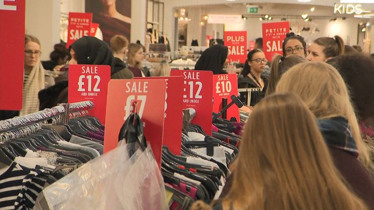 Shoppers in Cardiff on Boxing Day 2017