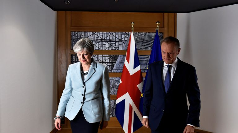 Theresa May and European Council President Donald Tusk