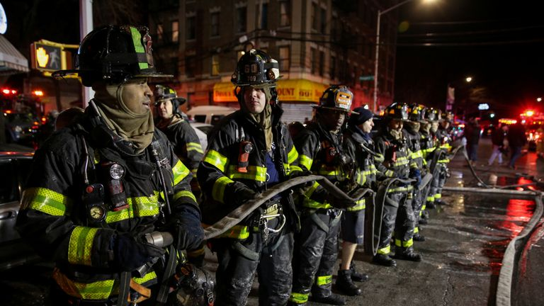 "New York City Mayor Bill De Blasio thanked the New York Fire Department ""for their bravery and quick action"""