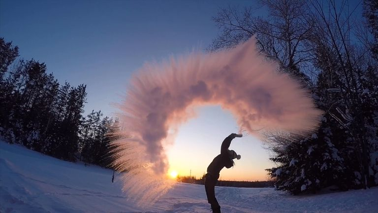 Temperatures at Fort Frances, Ontario, hit -32.8C, cold enough to freeze water instantly