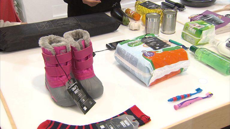 Goods sold in refugee pop-up shop Choose Love