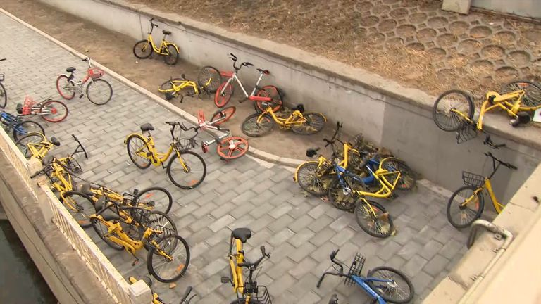 The bikes are often left blocking the pavements