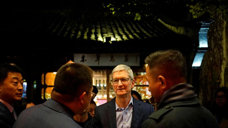 Apple CEO Tim Cook arrives for the 2017 World Internet Conference in China
