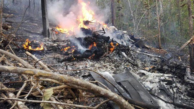 The plane came down in a mountainous area. Pic: Ministerio de Seguridad Publica de Costa Rica