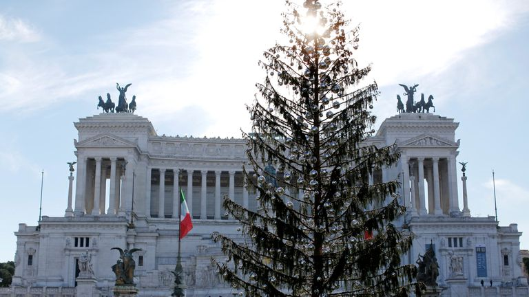 The Christmas tree in downtown Rome