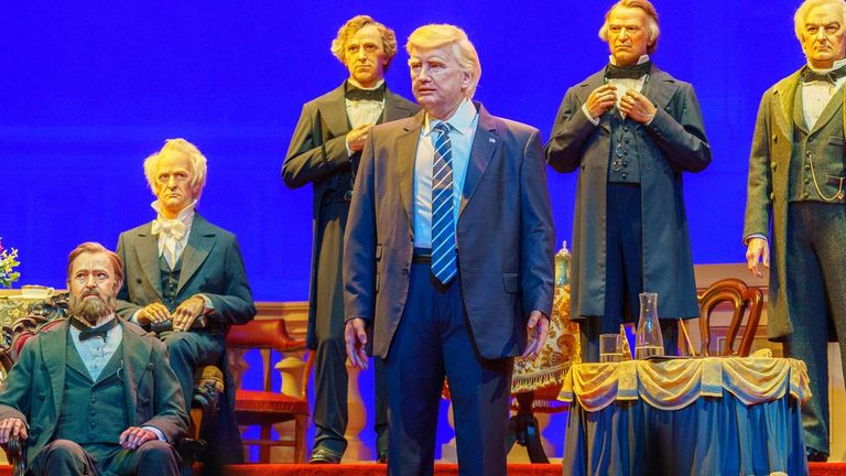 Donald Trump stands among his predecessors at Disney's Hall of Presidents. Pic: WDWMAGIC.com