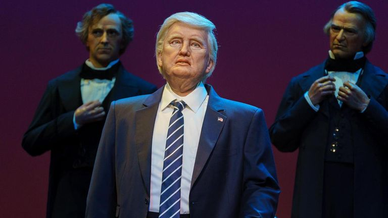 Animatronic Trump does not once promise to 'Make America Great Again'. Pic: WDWMAGIC.com