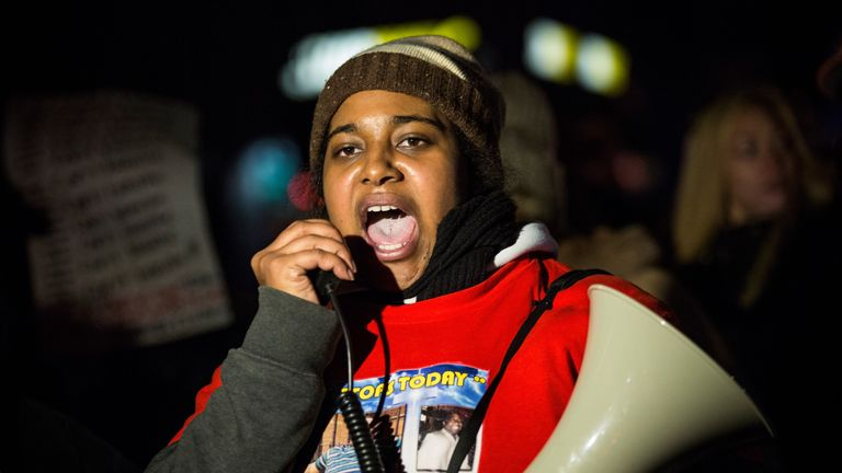 Erica Garner at a rally in 2014, a few months after the death of her father