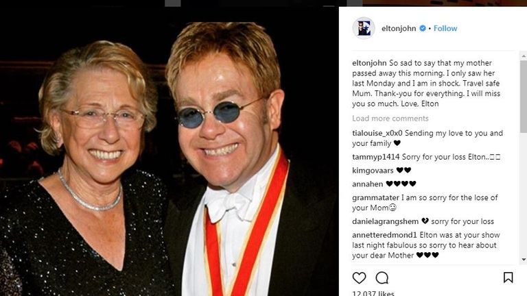 Sir Elton John's farewell message to his mother