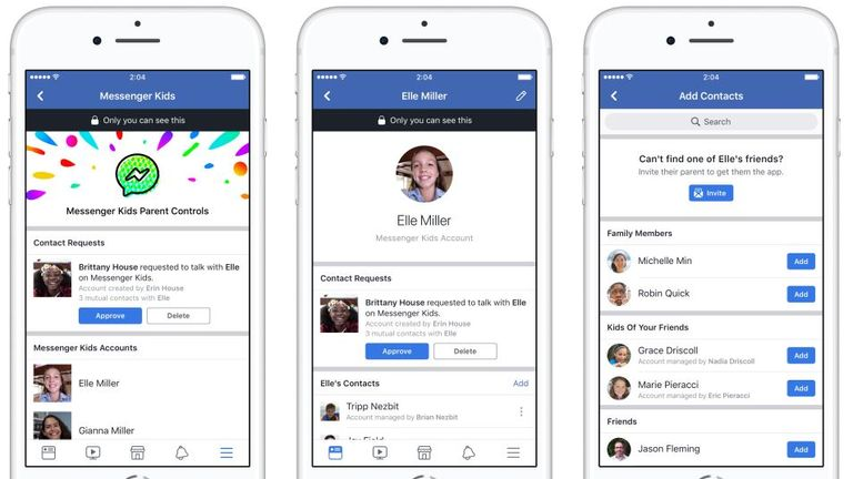 The app is controlled from a parent's Facebook account