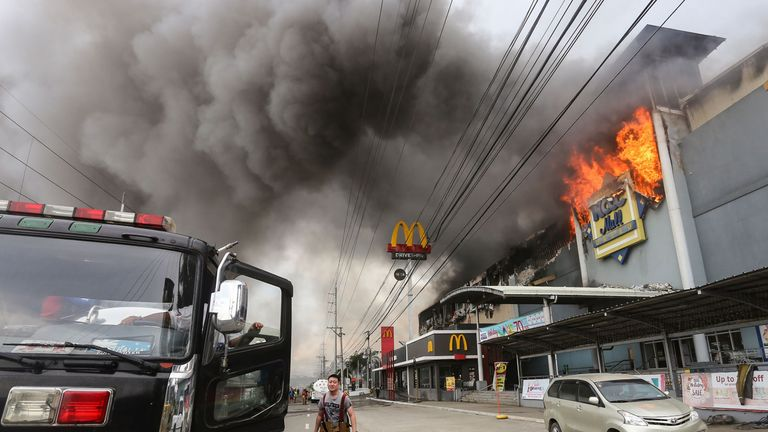 Massive plumes of smoke poured out of the Davao mall
