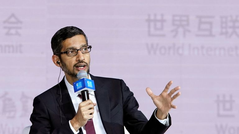 Google CEO Sundar Pichai attends a session of the fourth World Internet Conference in China