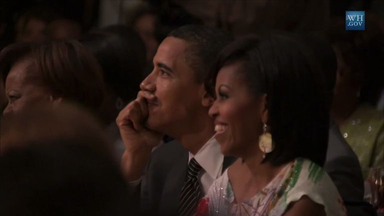 Barack and Michelle Obama enjoy the show during its Broadway run