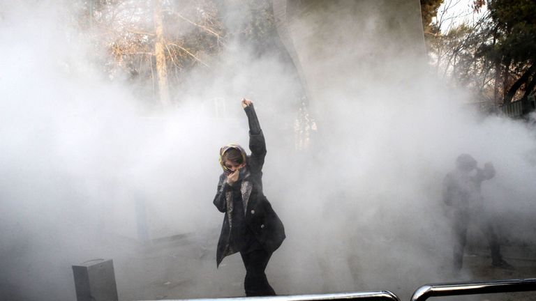 Tear gas appeared to have been fired at protesters at the University of Tehran