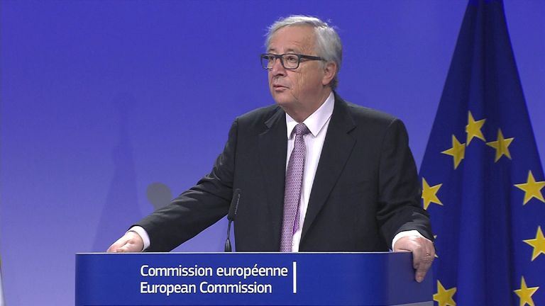 Jean Claude Juncker at a press conference in Brussels after agreeing a Brexit deal with the EU