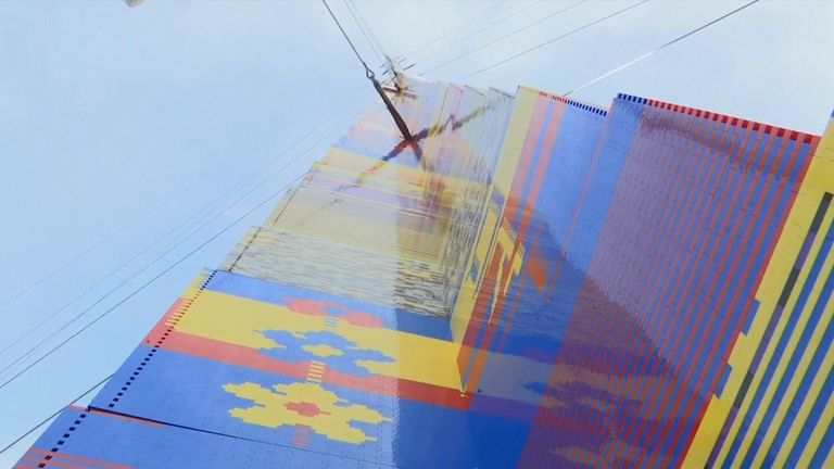 The Lego tower was made using more than half a million blocks and was supported to prevent it toppling in the wind