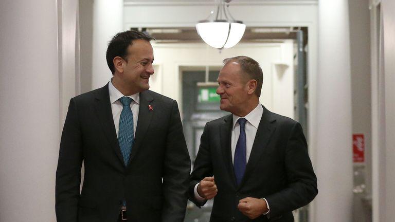 President of the European Council, Donald Tusk (right) meets with Taoiseach Leo Varadkar